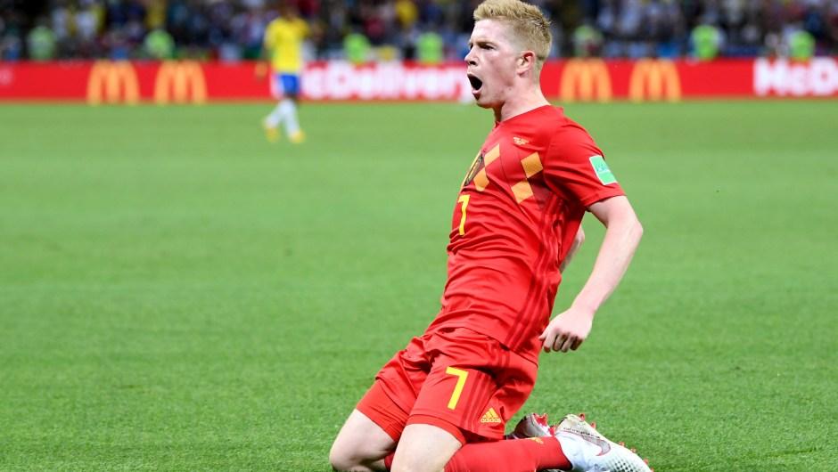 El belga Kevin De Bruyne marcó el segundo gol de su selección en el minuto 31. El partido se puso Brasil 0 - 2 Bélgica. (Crédito: Laurence Griffiths/Getty Images)