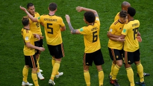 Belgium's forward Eden Hazard (2nd-L) celebrates his goal during their Russia 2018 World Cup play-off for third place football match between Belgium and England at the Saint Petersburg Stadium in Saint Petersburg on July 14, 2018. (Photo by OLGA MALTSEVA / AFP) / RESTRICTED TO EDITORIAL USE - NO MOBILE PUSH ALERTS/DOWNLOADS (Photo credit should read OLGA MALTSEVA/AFP/Getty Images)