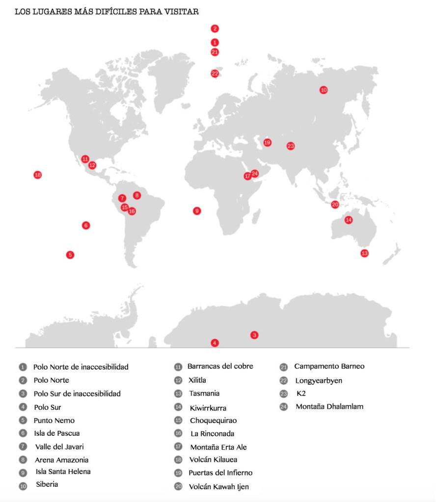 Lugares más inaccesibles del mundo