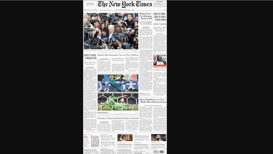 Portada de The New York Times en papel el lunes 2 de julio.