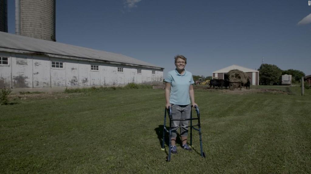 Alyssa Gilderhus en la granja de su familia en Sherburn, Minnesota.