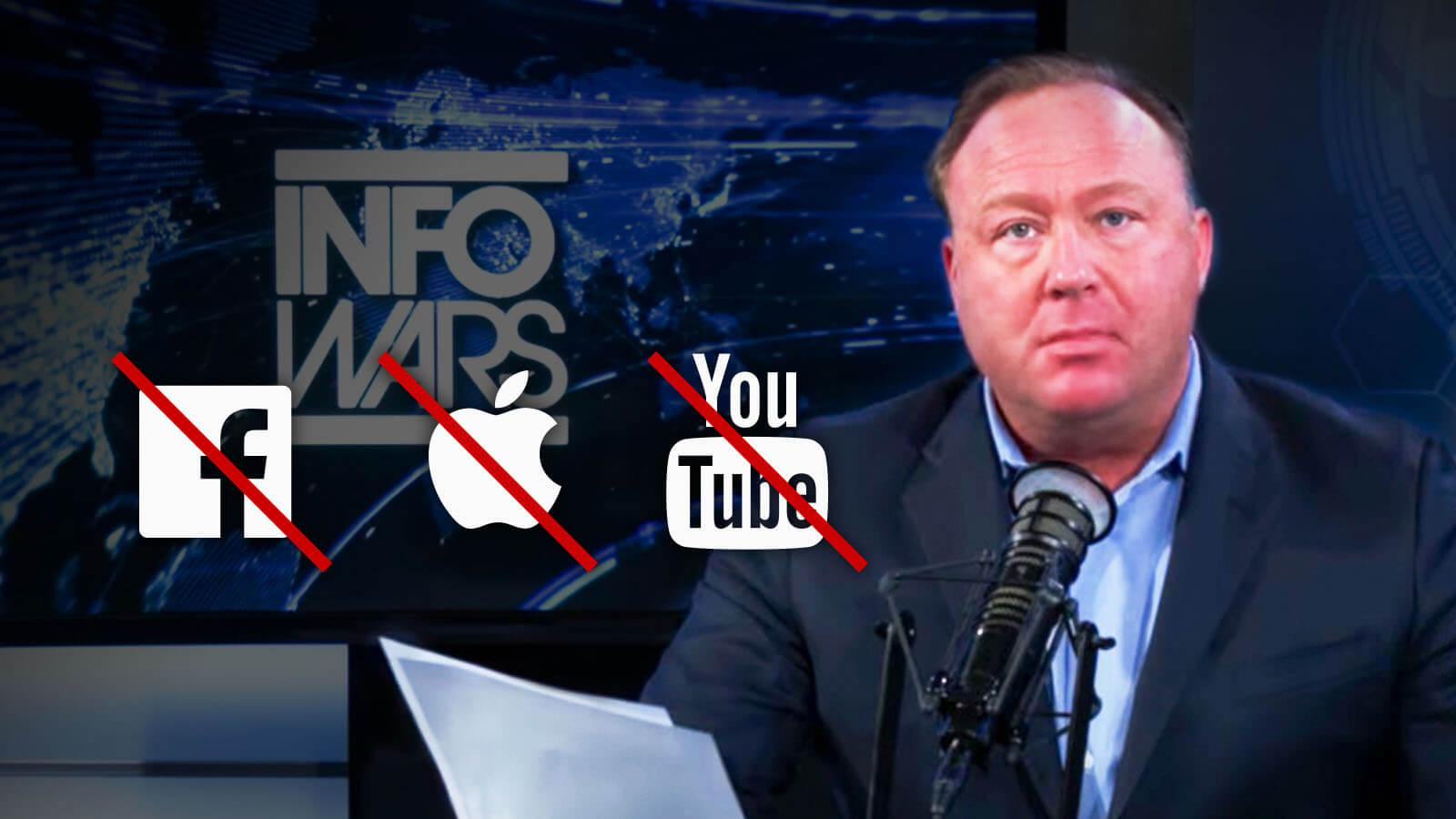 Facebook, YouTube y Apple eliminan contenido de InfoWars