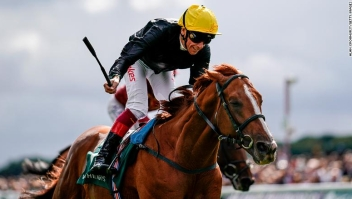 YORK, ENGLAND - AUGUST 24: Frankie Dettori riding Stradivarius (yellow cap) win The Weatherbys Hamilton Lonsdale Cup at York Racecourse on August 24, 2018 in York, United Kingdom. (Photo by Alan Crowhurst/Getty Images) *** Local Caption *** Frankie Dettori;Stradivarius