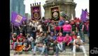 Boxeadores mexicanos con la virgen de Guadalupe