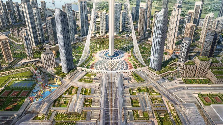 El complejo comercial, de entretenimiento y residencial más amplio tendrá un tamaño de 2 millones de metros cuadrados. Se encuentra a los pies de Dubai Creek Tower, la estructura súper alta que, a 900 metros, eclipsará incluso el Burj Khalifa cuando esté terminado.