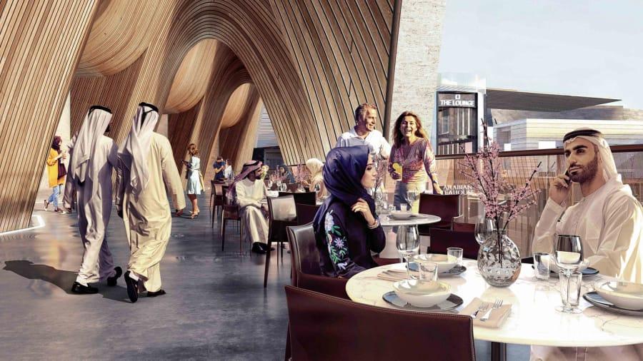 """Los desarrolladores Emaar y Dubai Holdings están promocionando el gran potencial de la zona para los amantes de la comida. Los alimentos y bebidas son vistos como un área de crecimiento para los centros minoristas en todo el mundo de acuerdo con la investigación de mercado de CBRE, y las """"marcas orientadas a la experiencia"""" son vistos como inquilinas atractivas para los propietarios."""
