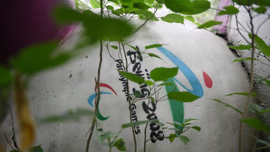 Dejado atrás: Fu Niu Lele, la mascota de los Juegos Paralímpicos de Beijing 2008, también se encuentra entre los árboles detrás del centro comercial en desuso.