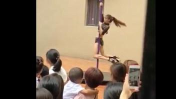 El lunes 3 de septiembre se exhibirá una actuación de baile con barra ante niños y padres en un jardín de infantes chino en Shenzhen.