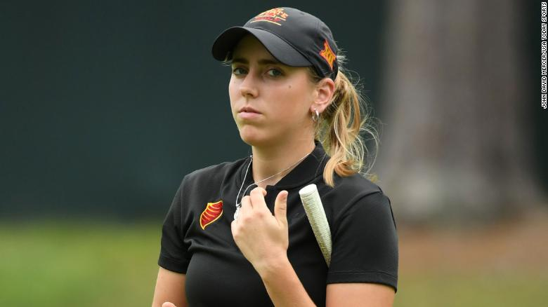 May 31, 2018; Shoal Creek, AL, USA; Celia Barquin Arozamena reacts after putting on the ninth green during the first round of the U.S. Women's Open Championship golf tournament at Shoal Creek. Mandatory Credit: John David Mercer-USA TODAY Sports