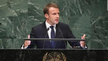 Emmanuel Macron durante su discurso en la ONU