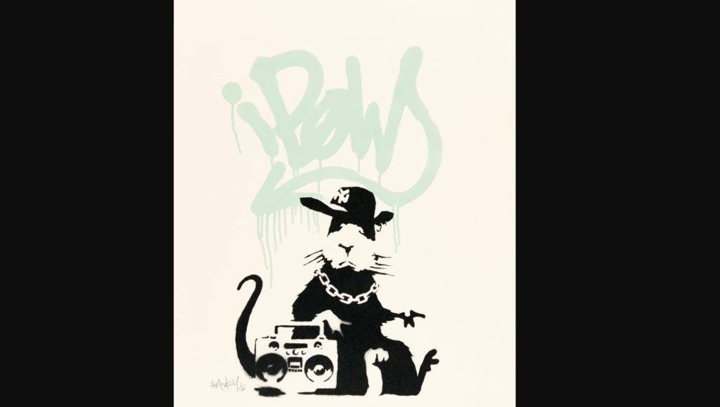 """La impresión de """"Gangsta Rat"""" de Banksy. (Crédito: Sotheby's)"""