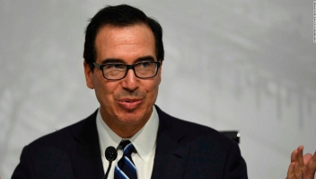 "US Secretary of the Treasury Steven Mnuchin, gestures during a press conference in Buenos Aires, on July 22, 2018, at the end of the G20 Finance Ministers and Central Bank Governors meeting. - Group of 20 finance ministers warned on Sunday that ""heightened trade and geopolitical tensions"" posed risks to global economic growth as two days of meetings came to a close. (Photo by EITAN ABRAMOVICH / AFP) (Photo credit should read EITAN ABRAMOVICH/AFP/Getty Images)"