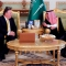 U.S. Secretary of State Mike Pompeo, centre left, talks with Saudi Foreign Minister Adel al-Jubeir, after arriving in Riyadh, Saudi Arabia, Tuesday Oct. 16, 2018. Pompeo arrived Tuesday in Saudi Arabia for high level diplomatic talks over the unexplained disappearance and alleged slaying of Saudi writer Jamal Khashoggi, who vanished two weeks ago during a visit to the Saudi Consulate in Istanbul. (Leah Millis/Pool via AP)