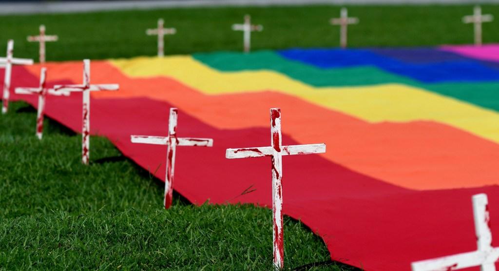 Bandera homosexual para reivindicar la lucha contra la homofobia. (Crédito: MARVIN RECINOS/AFP/Getty Images)