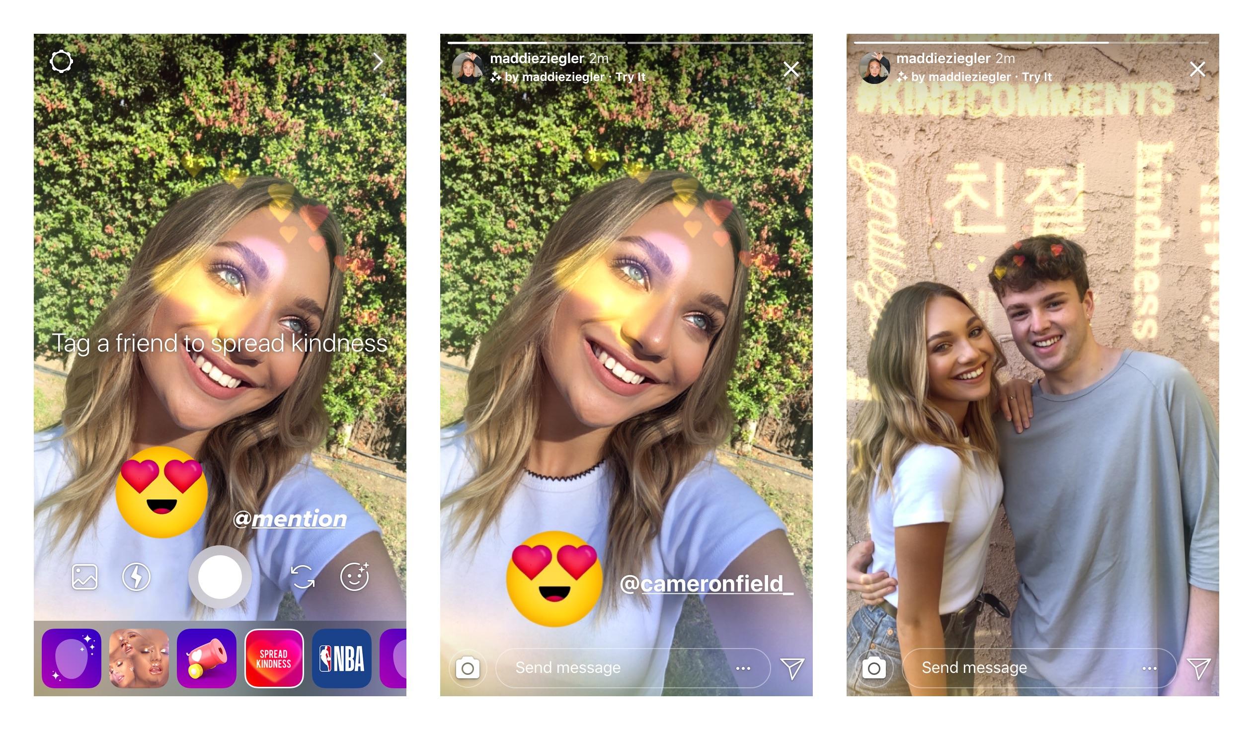 """El nuevo filtro """"amable"""" de Instagram. Cortesía: Instagram"""