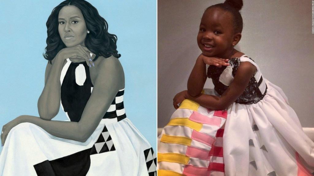 Niña de 3 años se vuelve viral por admiración a cuadro de Michelle Obama