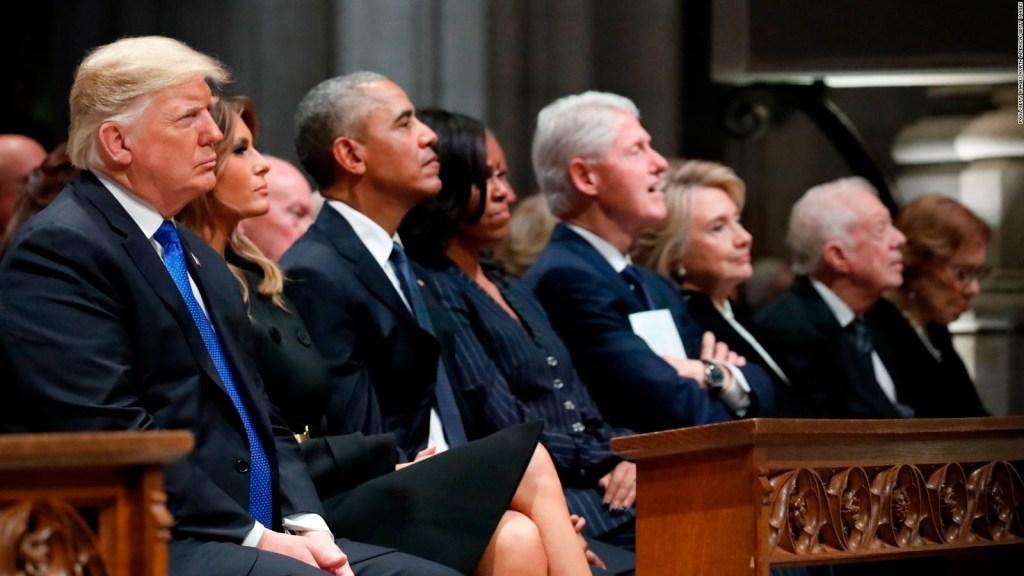 Trump saludó a Obama y no a los Clinton