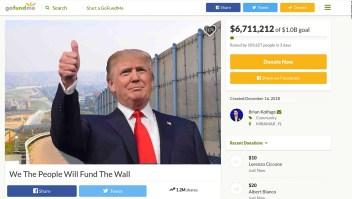 Campaña en GoFundMe recolecta más de US$ 5 millones en tres días para el muro fronterizo