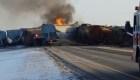 Tren descarrilado en Canadá bloquea autopista