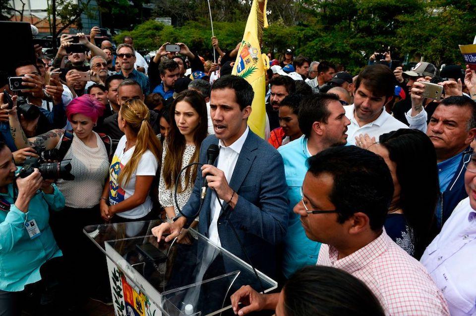 Juan Guaidó, durante una manifestación opositora este sábado en Caracas. (FEDERICO PARRA/AFP/Getty Images)