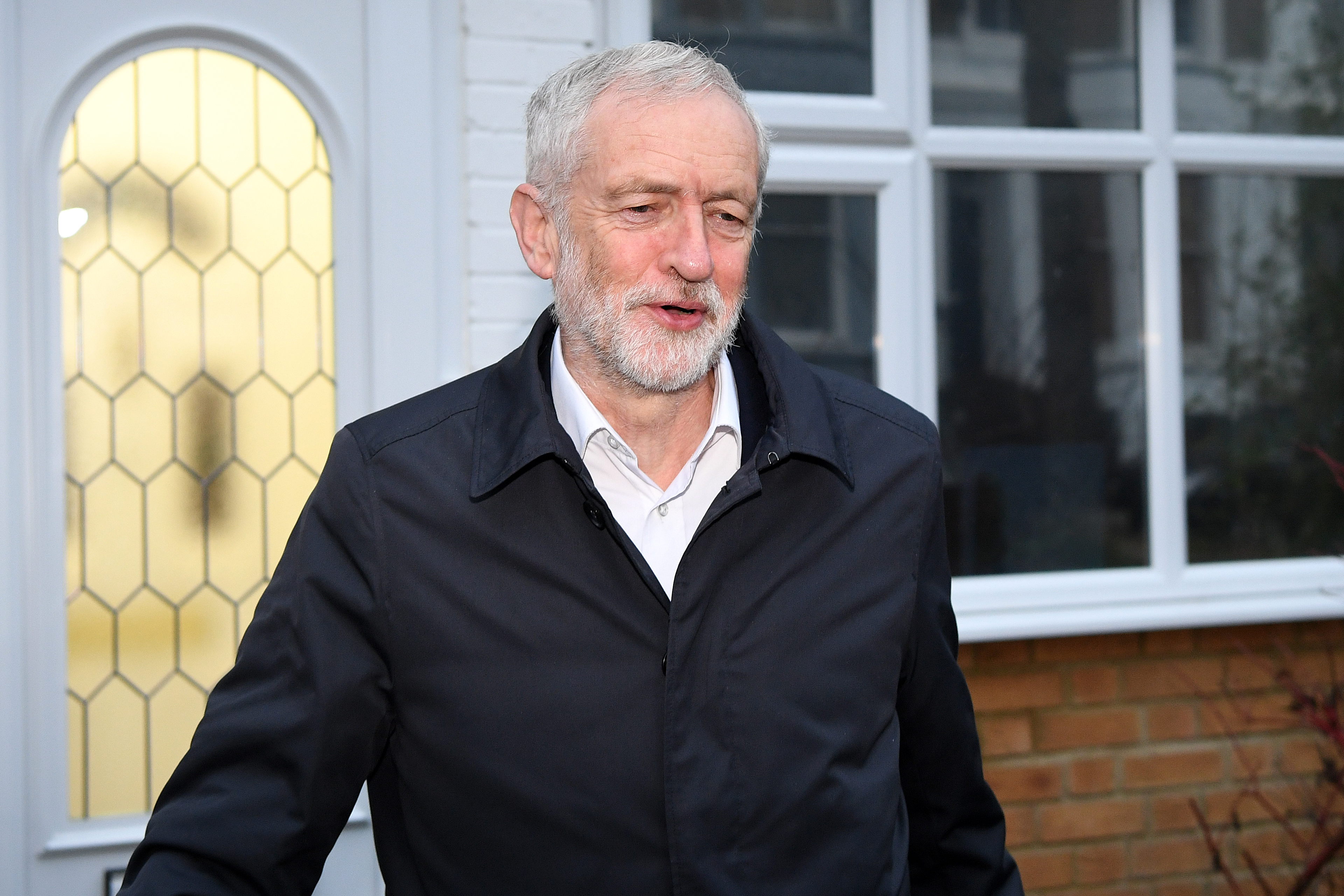 LONDON, ENGLAND - JANUARY 16: Labour Leader Jeremy Corbyn leaves his home ahead of a vote of no confidence in Government on January 16, 2019 in London, England. Parliament will hold a vote of no confidence in Government after Theresa May's Brexit deal was rejected yesterday. (Photo by Leon Neal/Getty Images)