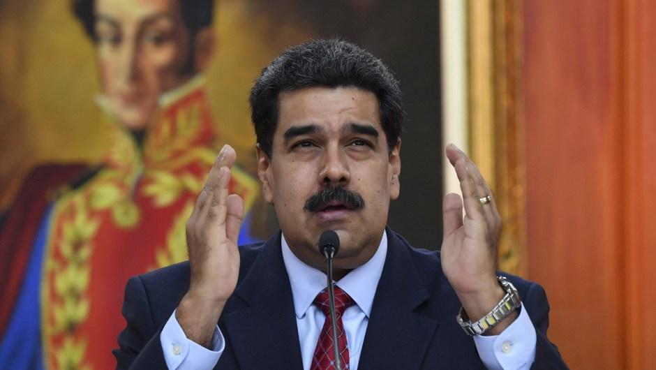 El presidente venezolano, Nicolás Maduro, durante una conferencia de prensa en Caracas, el 25 de enero de 2019. Crédito: YURI CORTEZ / AFP / Getty Images.