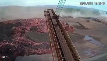El momento en que se rompió la presa en Brumadinho, Brasil