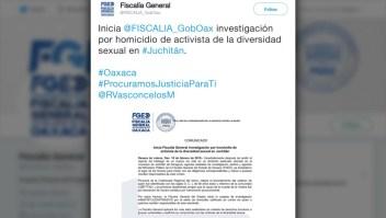 Investigan la muerte de un activista de LGBT en Oaxaca, México