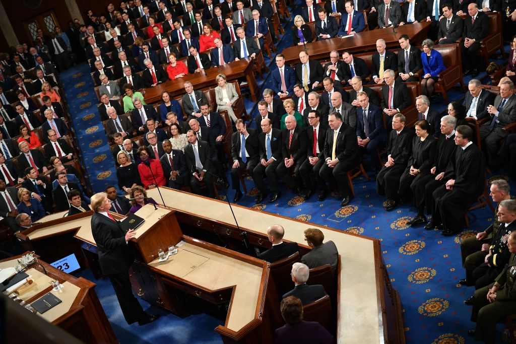 US President Donald Trump faces lawmakers from both political parties as he delivers his second State of the Union address at the US Capitol in Washington, DC, on February 5, 2019. (Photo by MANDEL NGAN / AFP) (Photo credit should read MANDEL NGAN/AFP/Getty Images)