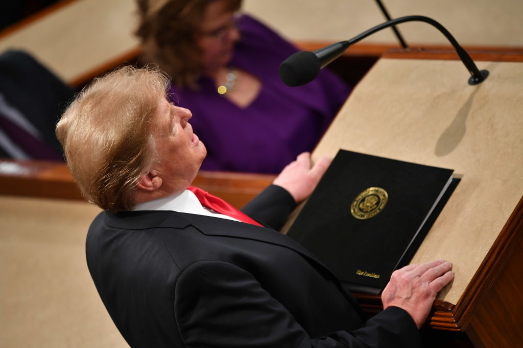 US President Donald Trump delivers the State of the Union address at the US Capitol in Washington, DC, on February 5, 2019. (Photo by MANDEL NGAN / AFP) (Photo credit should read MANDEL NGAN/AFP/Getty Images)