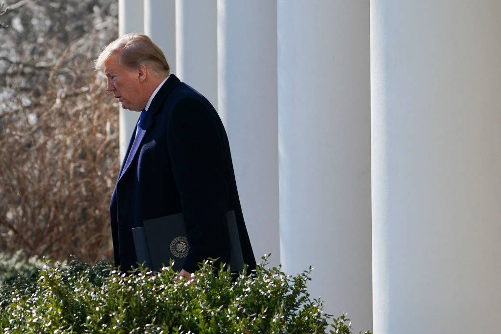 "US President Donald Trump arrives to deliver remarks in the Rose Garden at the White House in Washington, DC on February 15, 2019. - President Donald Trump, repeating his claim that ""walls work,"" announced that he will declare a national emergency in order to build a barrier on the US-Mexico border without funding from Congress. (Photo by Brendan SMIALOWSKI / AFP) (Photo credit should read BRENDAN SMIALOWSKI/AFP/Getty Images)"