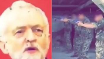Supuestos militares disparan a una foto de Jeremy Corbyn
