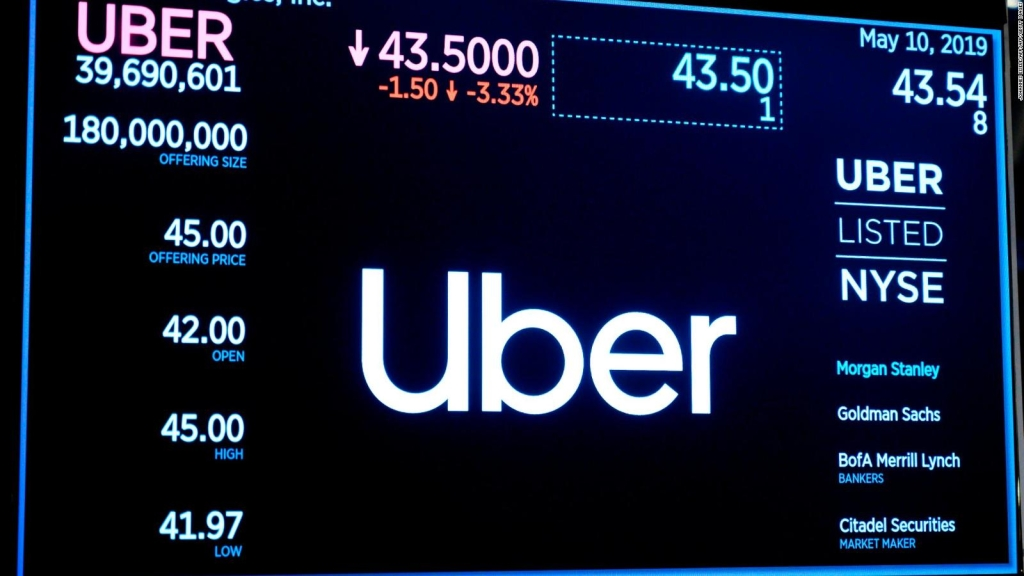Uber tropieza en su debut en bolsa