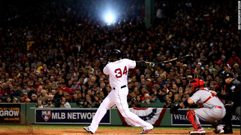 BOSTON, MA - OCTOBER 23: David Ortiz #34 of the Boston Red Sox bats against the St. Louis Cardinals in the first inning of Game One of the 2013 World Series at Fenway Park on October 23, 2013 in Boston, Massachusetts. (Photo by Rob Carr/Getty Images)