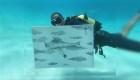 Un artista cubano pinta en el fondo del mar