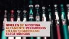 La nicotina de los cigarrillos electrónicos puede ser muy peligrosa