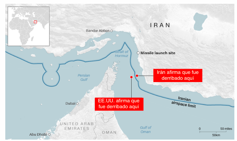 Mapa derribo dron EE.UU. Irán