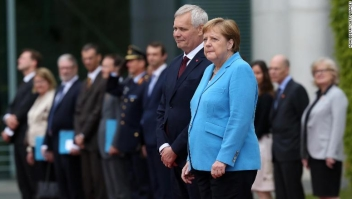 BERLIN, GERMANY - JULY 10: German Chancellor Angela Merkel (CDU, R) trembles, an affliction she has shown lately, as she attends a military welcome ceremony with Finnish Prime Minister Antti Rinne on July 10, 2019 in Berlin, Germany. Rinne, chairman of the Finnish Social Democrats, was elected to office the previous month. (Photo by Adam Berry/Getty Images)