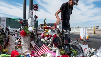 Antonio Basco visits a memorial for the victims of the Aug. 3 mass shooting in El Paso, across from the Walmart where the shooting took place in El Paso, Texas, Wednesday, Aug. 14, 2019. Basco's wife, Margie Reckard, 63, was killed in the shooting.