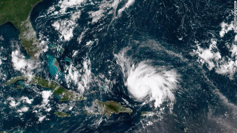 ATLANTIC OCEAN - AUGUST 29: In this NOAA GOES-East satellite image, Hurricane Dorian leaves the Caribbean Sea and tracks towards the Florida coast taken at 14:20 UTC August 29, 2019 in the Atlantic Ocean. According to the National Hurricane Center Dorian is predicted to hit Florida and the northern Bahamas as a Category 3 storm, bringing heavy rains and sustained winds of 125 mph. *** BESTPIX ***
