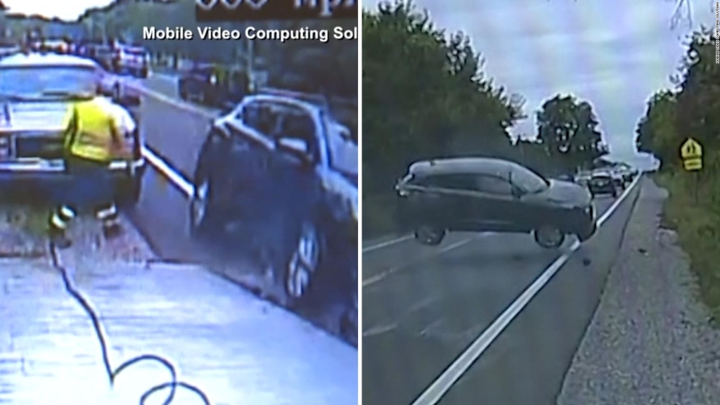 Auto chocó y casi arrolla a un operador de grúa