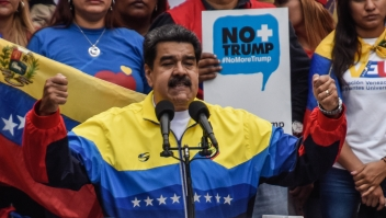 CARACAS, VENEZUELA - AUGUST 10: Nicolas Maduro President of Venezuela gestures during a speech in an anti-trump demostration on August 10, 2019 in Caracas, Venezuela. President Nicolas Maduro called a demonstration against Donal Trump after US president imposed an economic embargo to Venezuela barred transactions with its authorities. This also generated the freeze on the negotiations with opposition leader Juan Guaidó in Barbados. (Photo by Carolina Cabral/Getty Images)