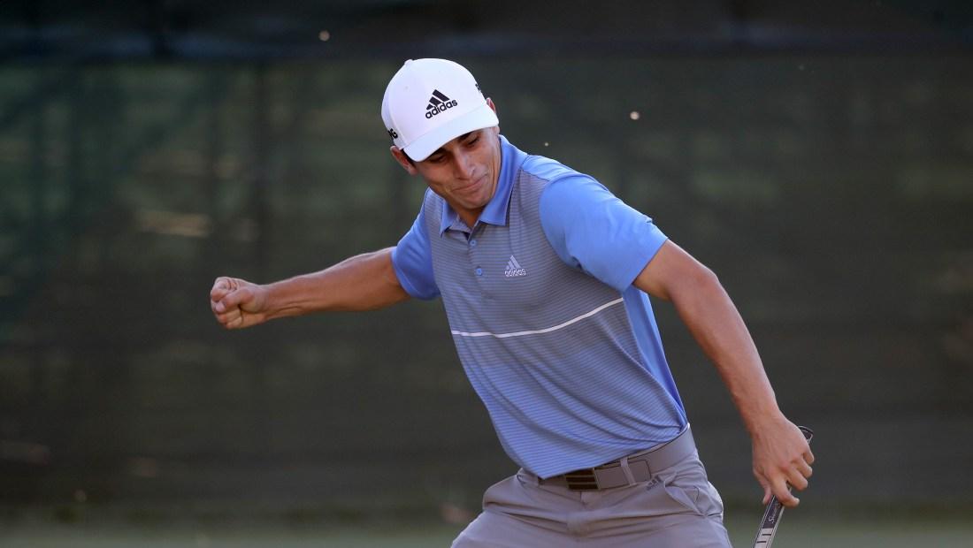 Joaquín Niemann celebra su primer título en la PGA.