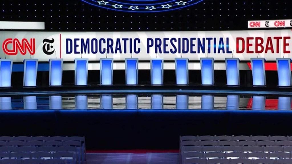 Asi se construyó el escenario para el debate demócrata