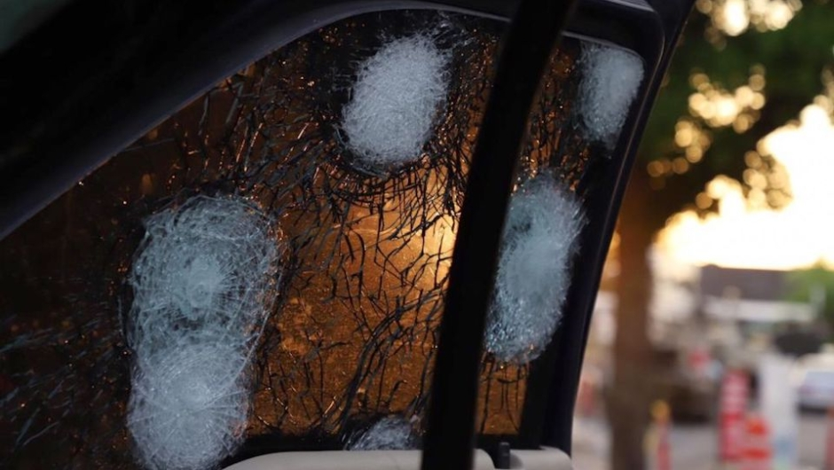 "View of the bullet ridden window of a vehicle in a street of Culiacan, state of Sinaloa, Mexico, on October 17, 2019. - Heavily armed gunmen in four-by-four trucks fought an intense battle against Mexican security forces Thursday in the city of Culiacan, capital of jailed kingpin Joaquin ""El Chapo"" Guzman's home state of Sinaloa. (Photo by RASHIDE FRIAS / AFP) (Photo by RASHIDE FRIAS/AFP via Getty Images)"