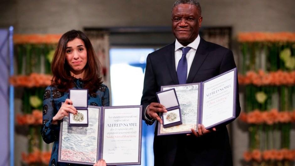 """El Premio Nobel de la Paz 2018, el doctor congolés Denis Mukwege y la activista Nadia Murad: """"Por sus esfuerzos para poner fin al uso de la violencia sexual como arma de guerra y conflicto armado""""."""
