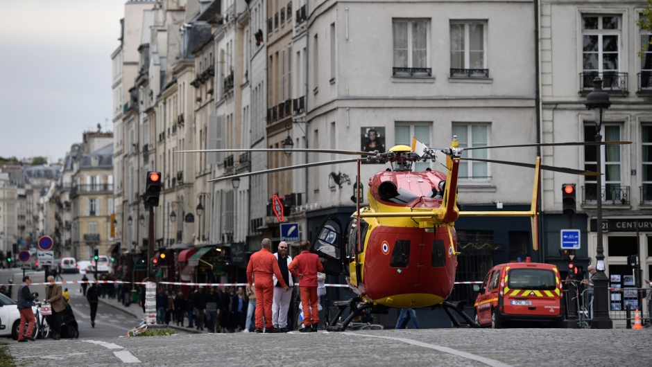 prefecture de police (police headquarters) after three persons have been hurt in a knife attack on October 3, 2019. - A knife attacker was shot and injured after hurting two people at police headquarters in the historical centre of Paris on October 3, sources told AFP. (Photo by Martin BUREAU / AFP) (Photo by MARTIN BUREAU/AFP via Getty Images)