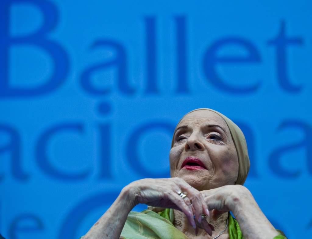 Cuban National Ballet Director Alicia Alonso speaks during a press conference to announce the recent promotions in the company and details of the upcoming European tour, in Havana August 26, 2009. Alonso also expressed her willingness for the Cuban Ballet to perform in the United States. AFP PHOTO/STR (Photo credit should read STR/AFP/Getty Images)