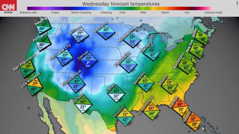 pronostico temperaturas ola invernal estados unidos frio lluvias nieve