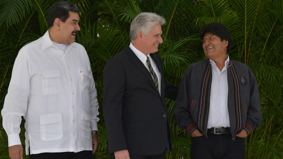 Nicolás Maduro, Miguel Díaz-Canel y Evo Morales (